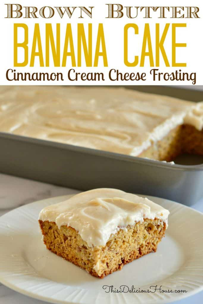 brown butter banana cake pinterest pin.