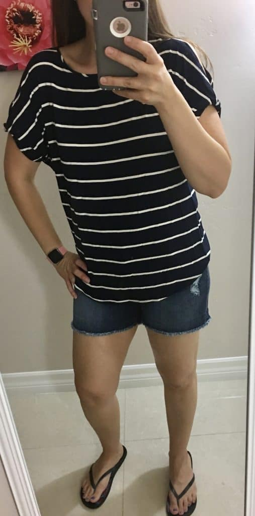 striped top with jean shorts from Stitch Fix.