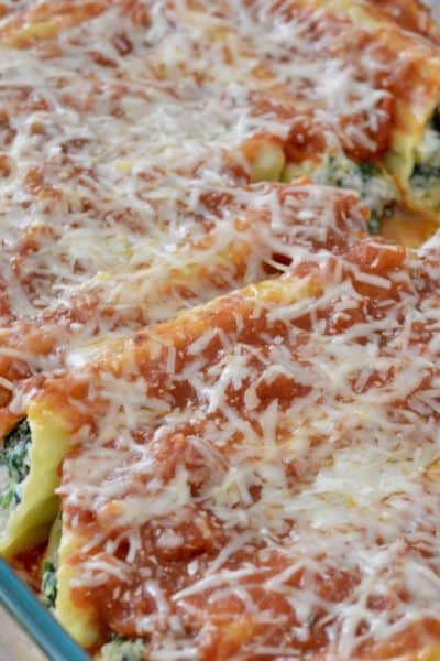 Turkey Spinach Manicotti in a baking pan.