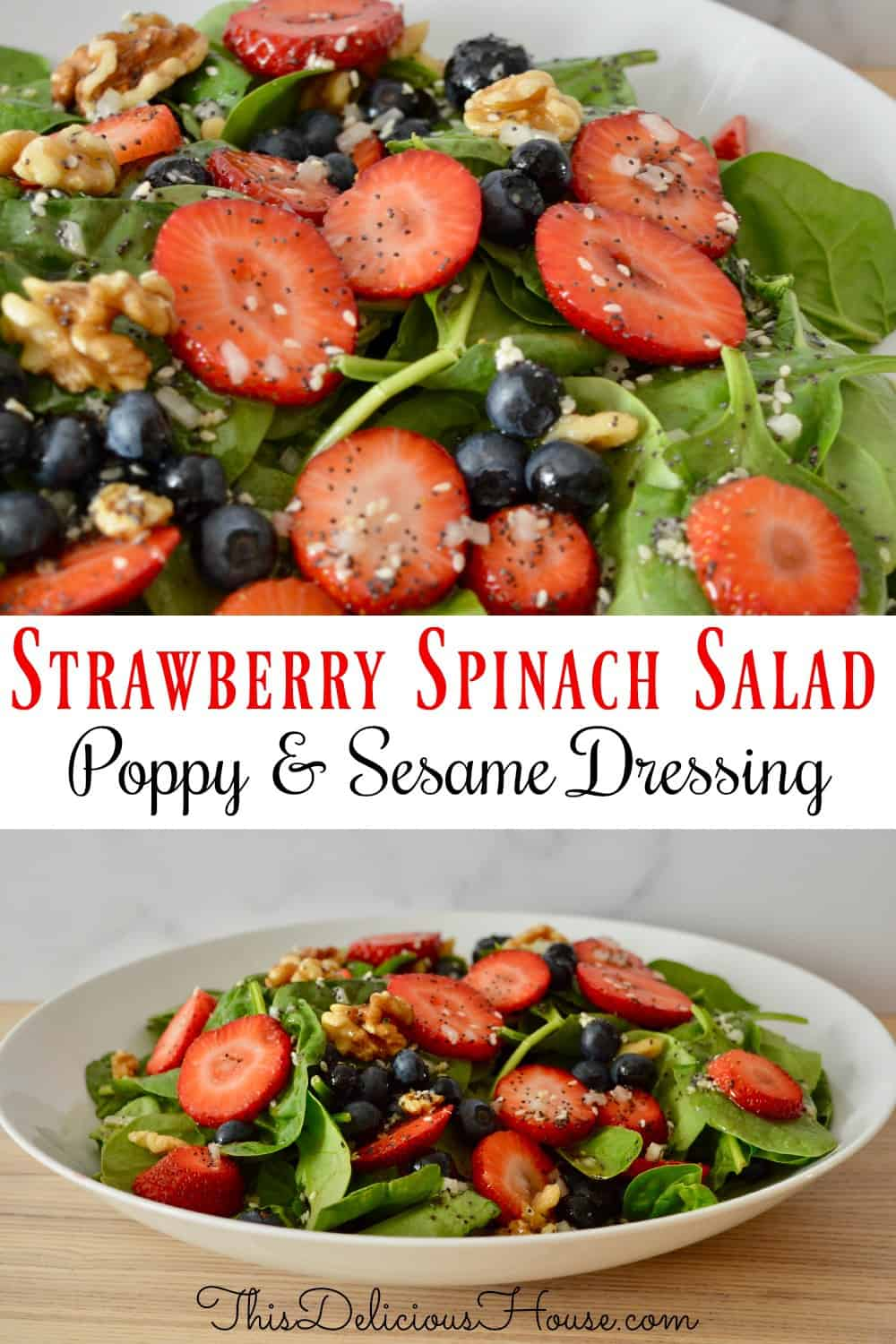 strawberry blueberry spinach salad pinterest pin.
