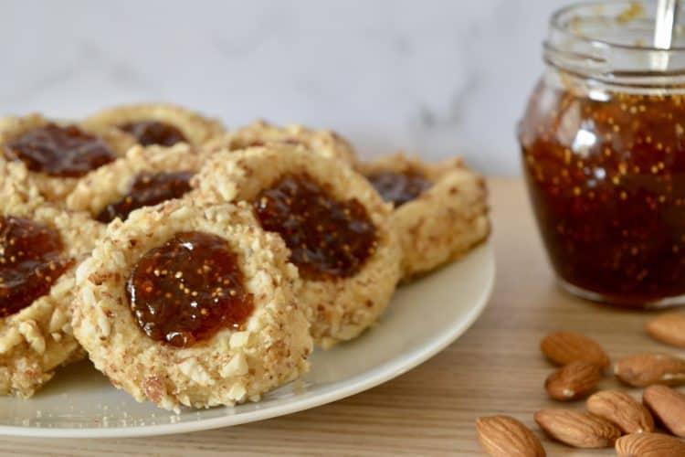Italian Thumbprint Cookies | Fig Spread & Almonds