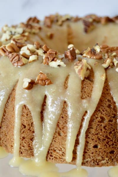 Bourbon Pecan Banana Cake with Bourbon Butter Glaze.