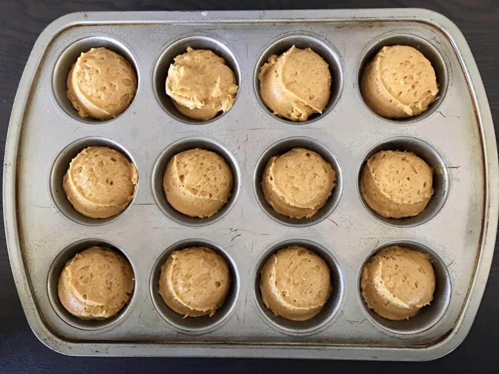 batter in muffin tin.