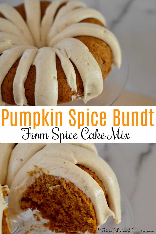 pumpkin spice bundt cake from mix pinterest pin.