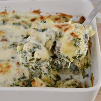 Chicken Bacon Spinach Tortellini Bake