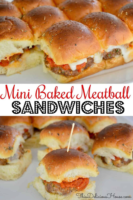 mini baked meatball sandwiches Pinterest Pin.