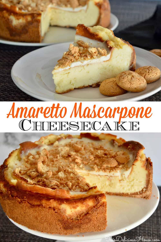 amaretto mascarpone cheesecake pinterest pin.
