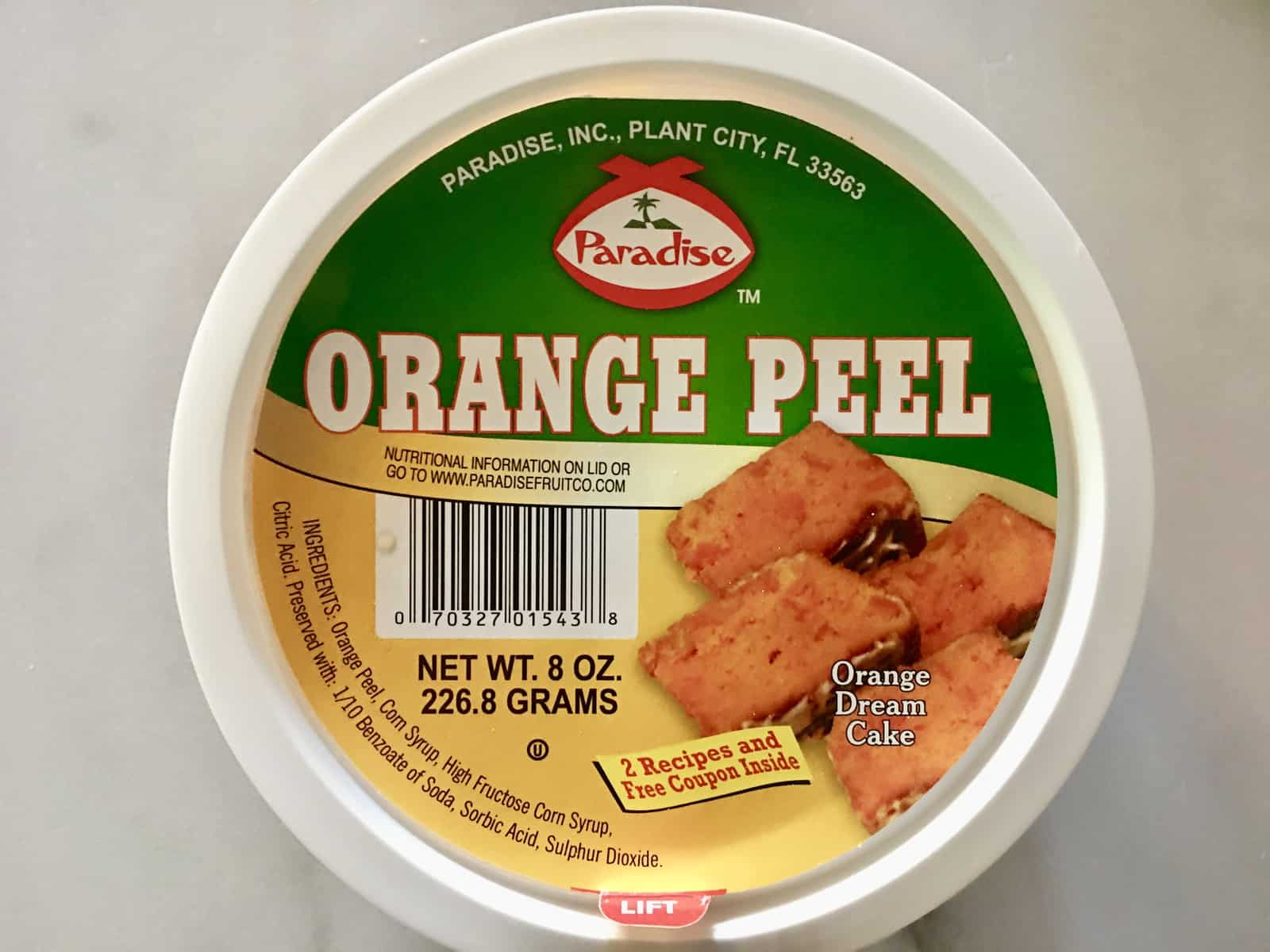 Diced Citrus Peel from Paradise Foods.