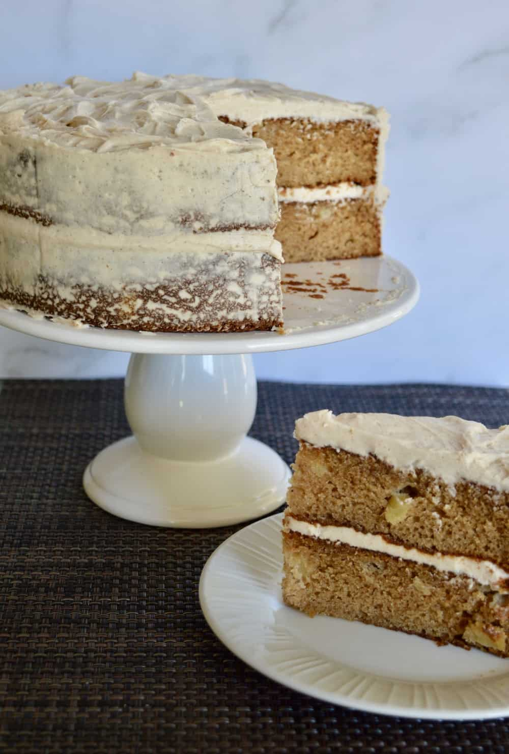 Apple Spice Cake with Cinnamon Buttercream Frosting.