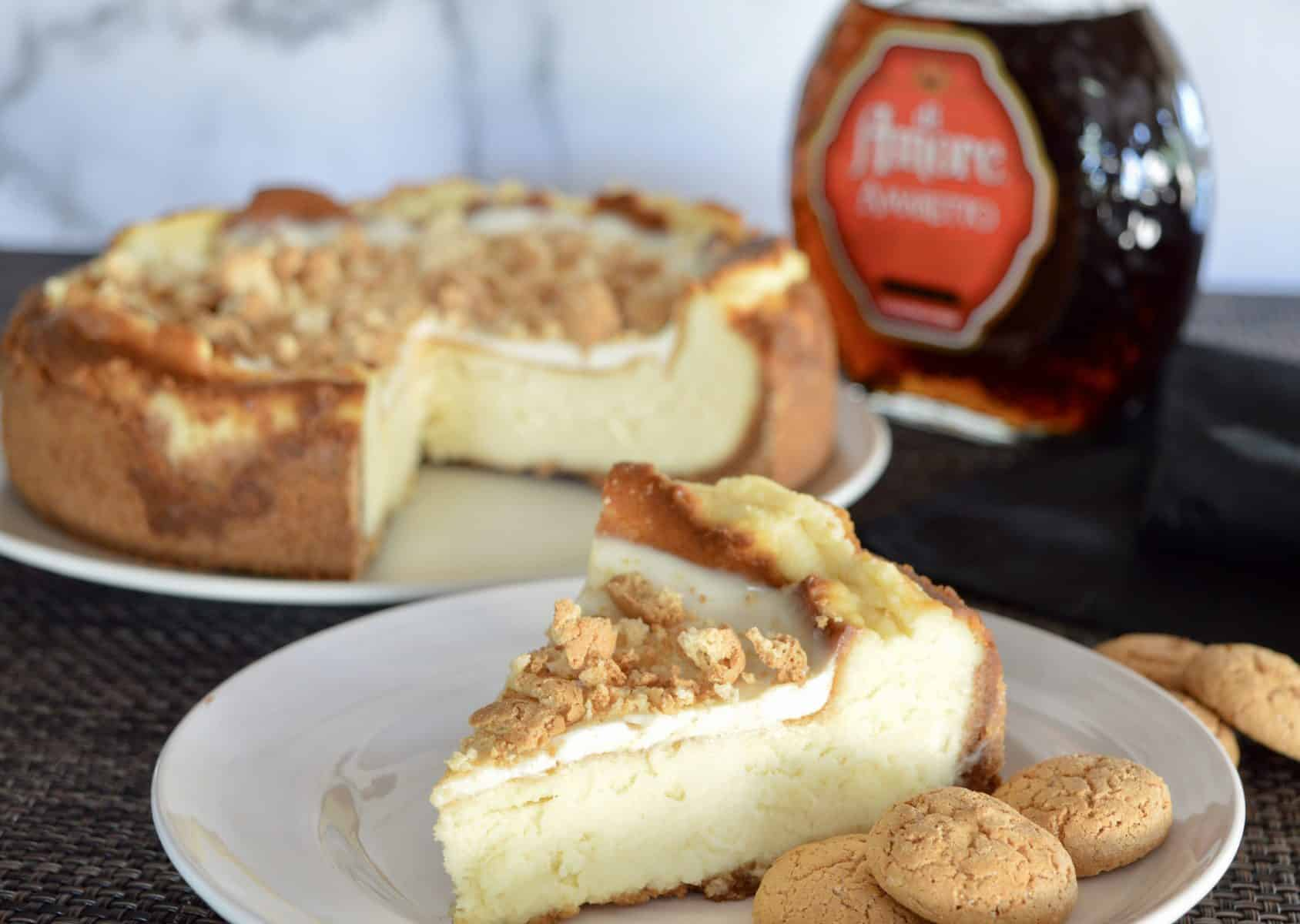 Amaretto Liqueur with a slice of cheesecake.
