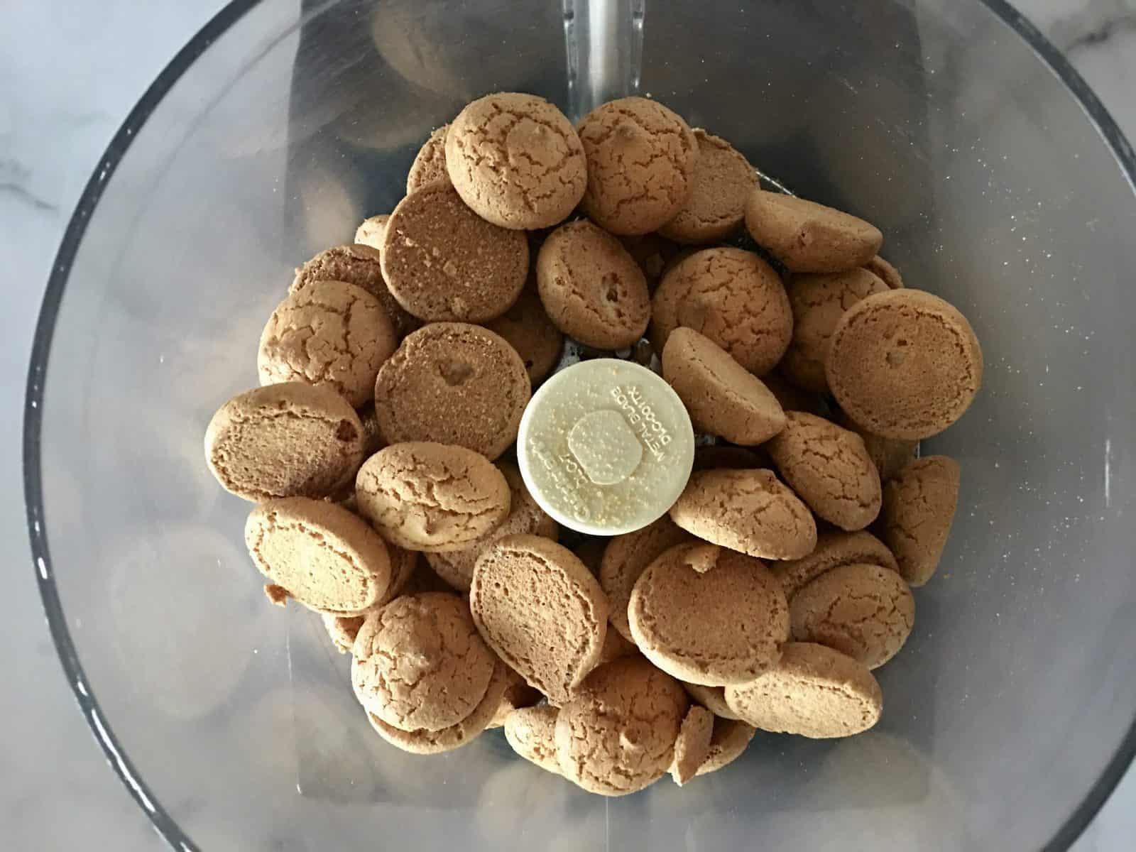 amaretti cookies in a food processor.