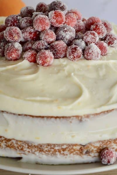 Cranberry Orange Spice Cake with sugared cranberries on top.