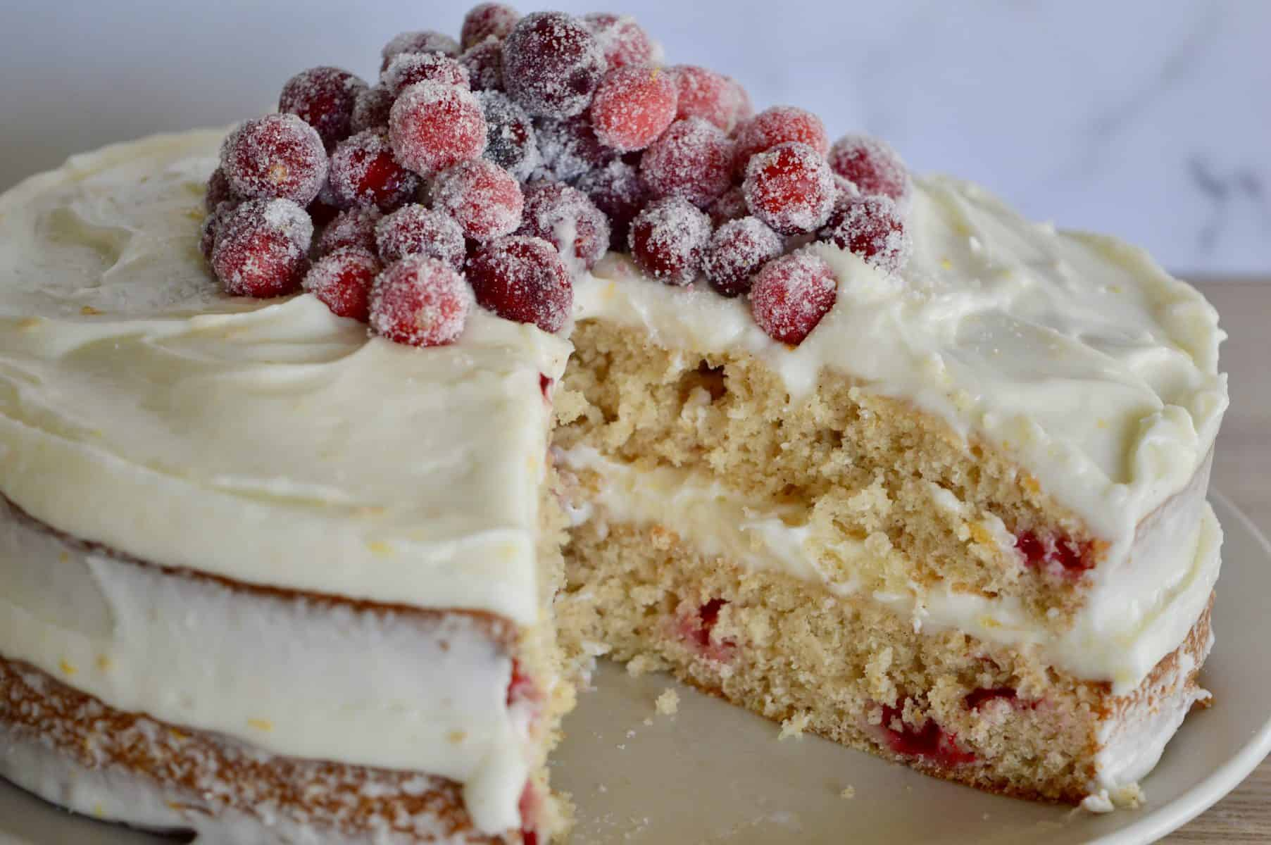 Close up of cut cranberry orange spice cake.
