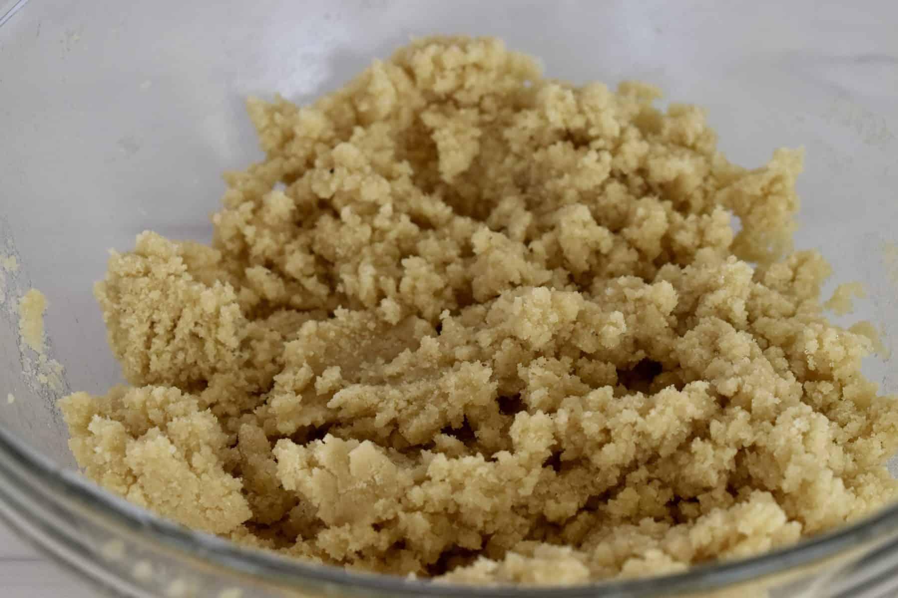 amaretti cookie recipe batter in a glass bowl.