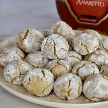 Amaretti Cookies on a plate.