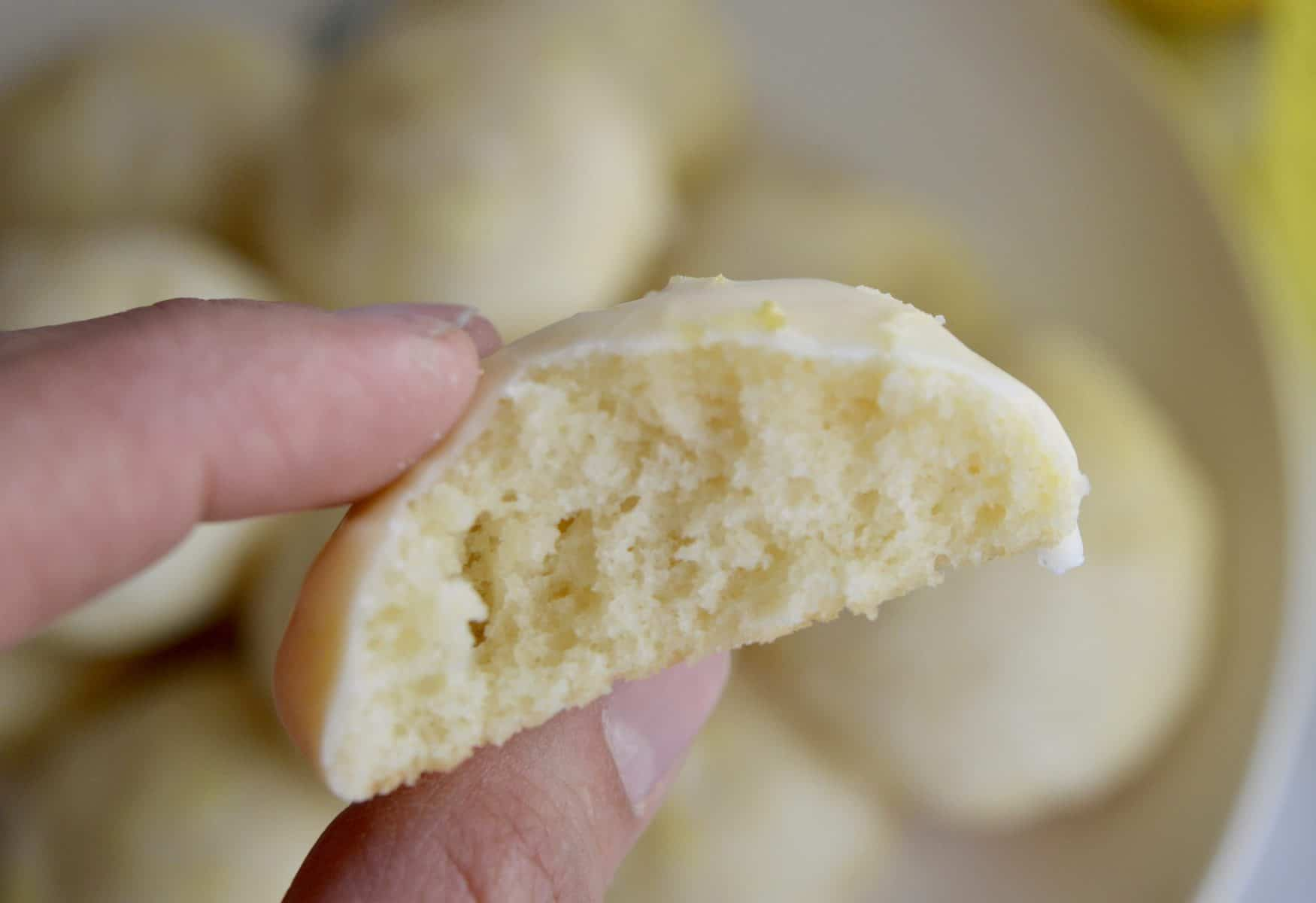 the inside of a limoncello ricotta cookies