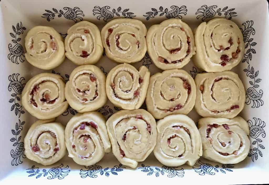 cut pinwheels in baking dish.