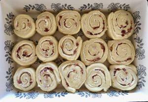 cut pinwheels in baking dish.