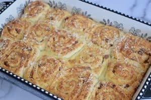 pinwheel bread rolls in a baking dish.