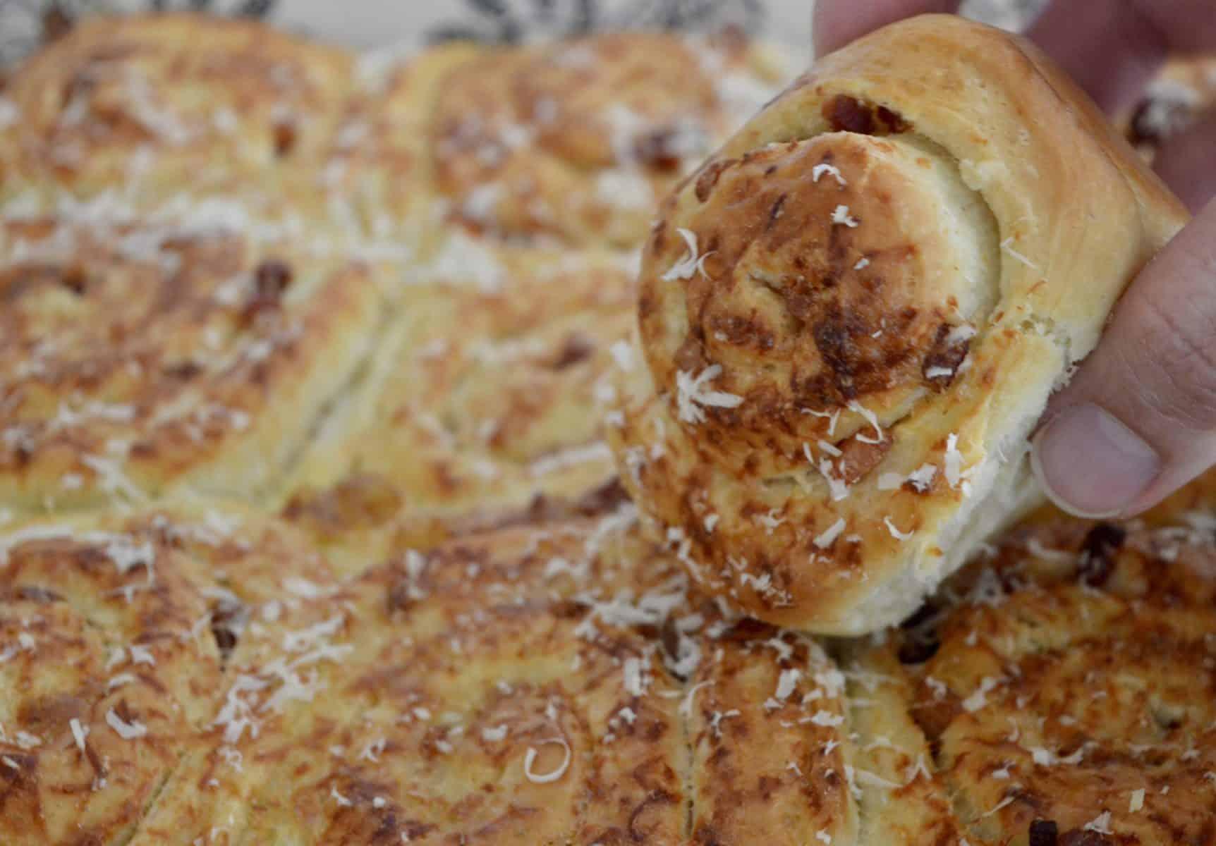 bacon and parmesan pinwheel bread rolls.