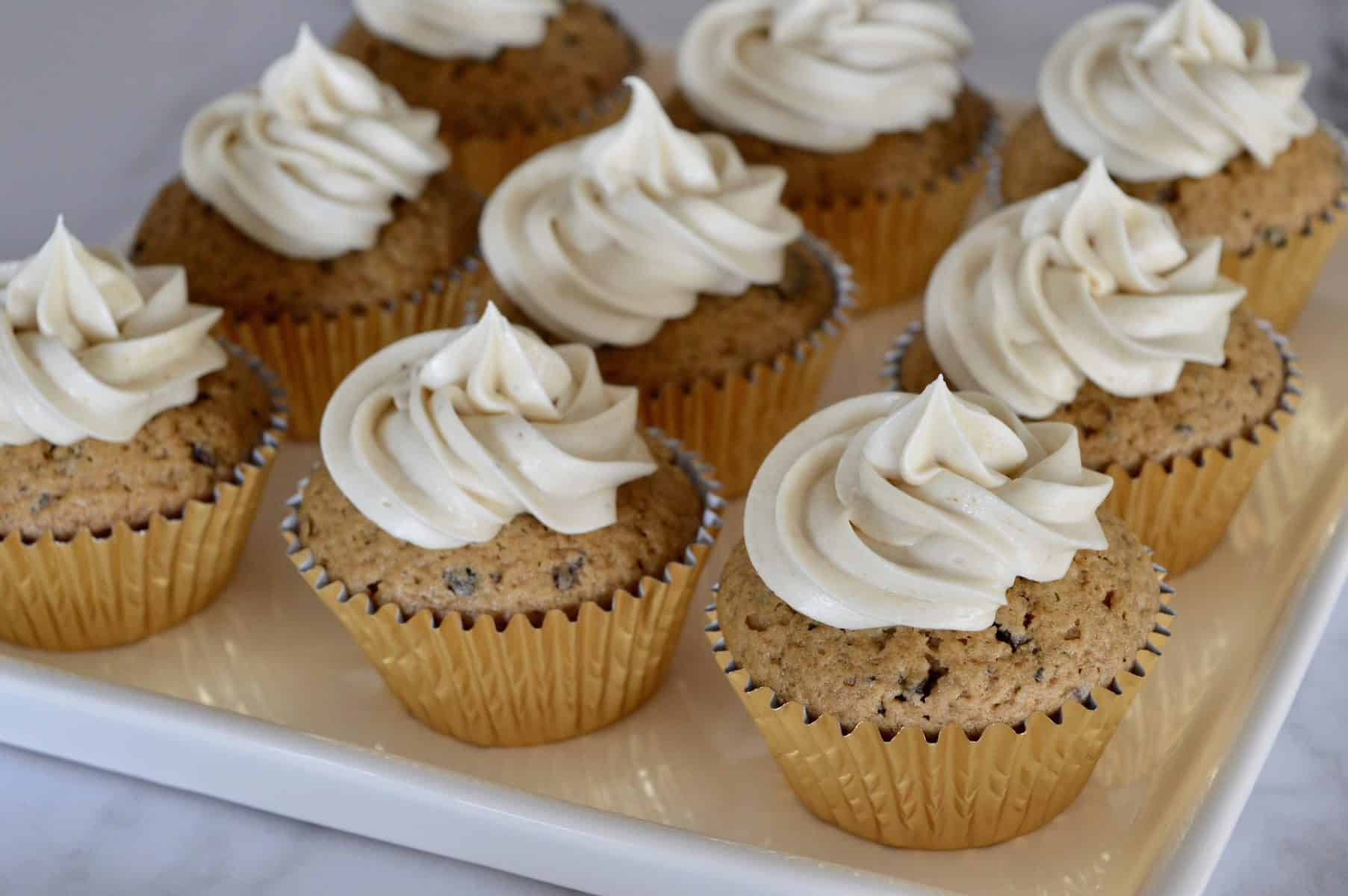 Espresso Cream Cheese frosting topped cupcakes.