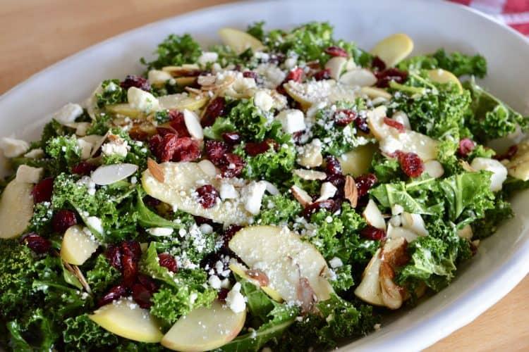 Kale Cranberry Feta Salad | Lemon Vinaigrette