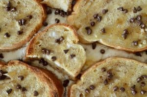 overhead close up photo of cannoli baked French toast.