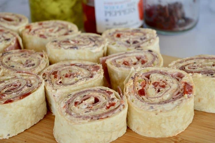 Italian Antipasto Pinwheels | Salami & Pepperoncini