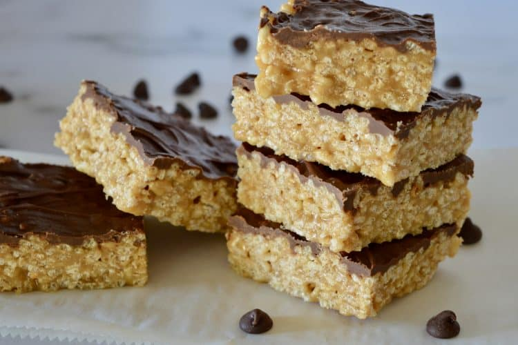 Caramel Peanut Butter Krispies | No Marshmallows