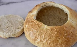 hollowed out sourdough bread roll.