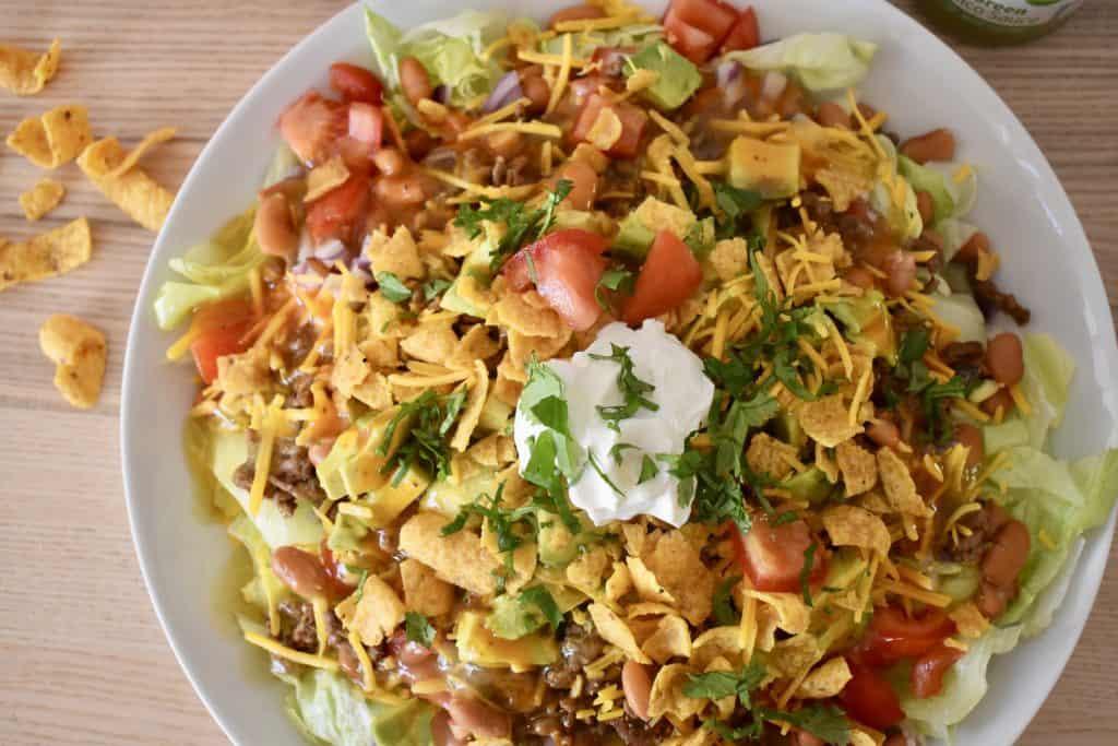 Overhead photo of Frito Taco Salad.