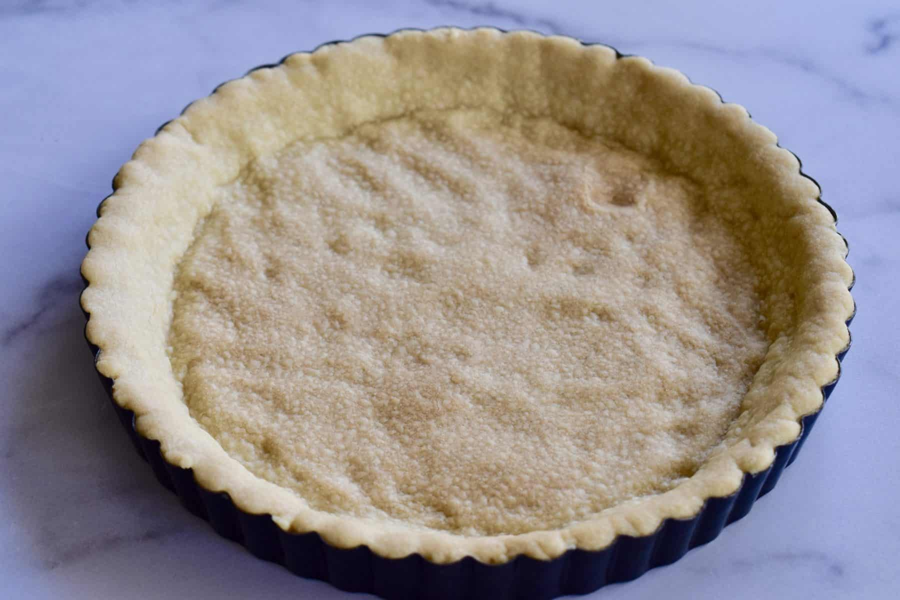 Baked olive oil crust.