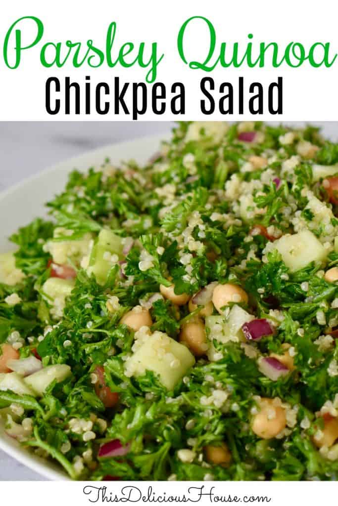 Parsley Quinoa Chickpea Salad Pinterst Pin.