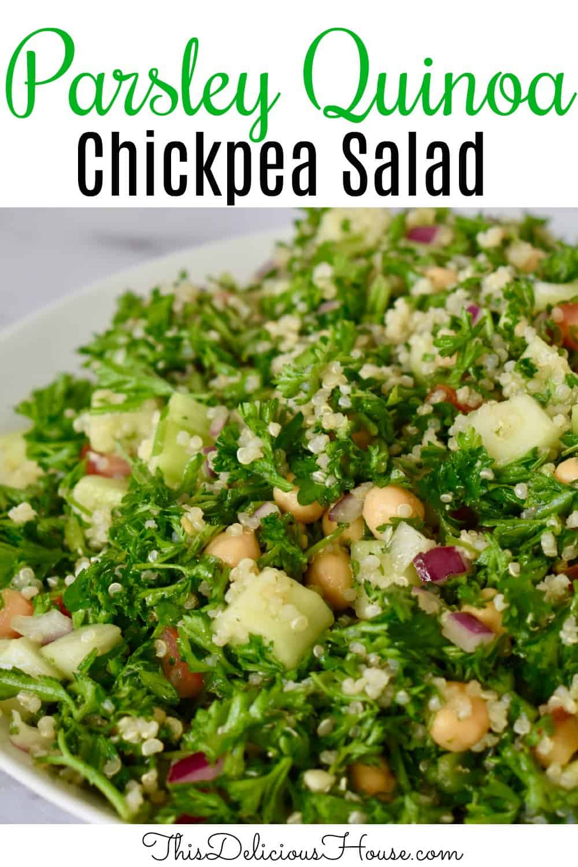 Parsley Quinoa Chickpea Salad Pinterst Pin.