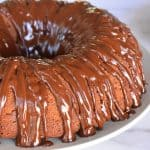 Chocolate Ricotta Bundt Cake with chocolate glaze.