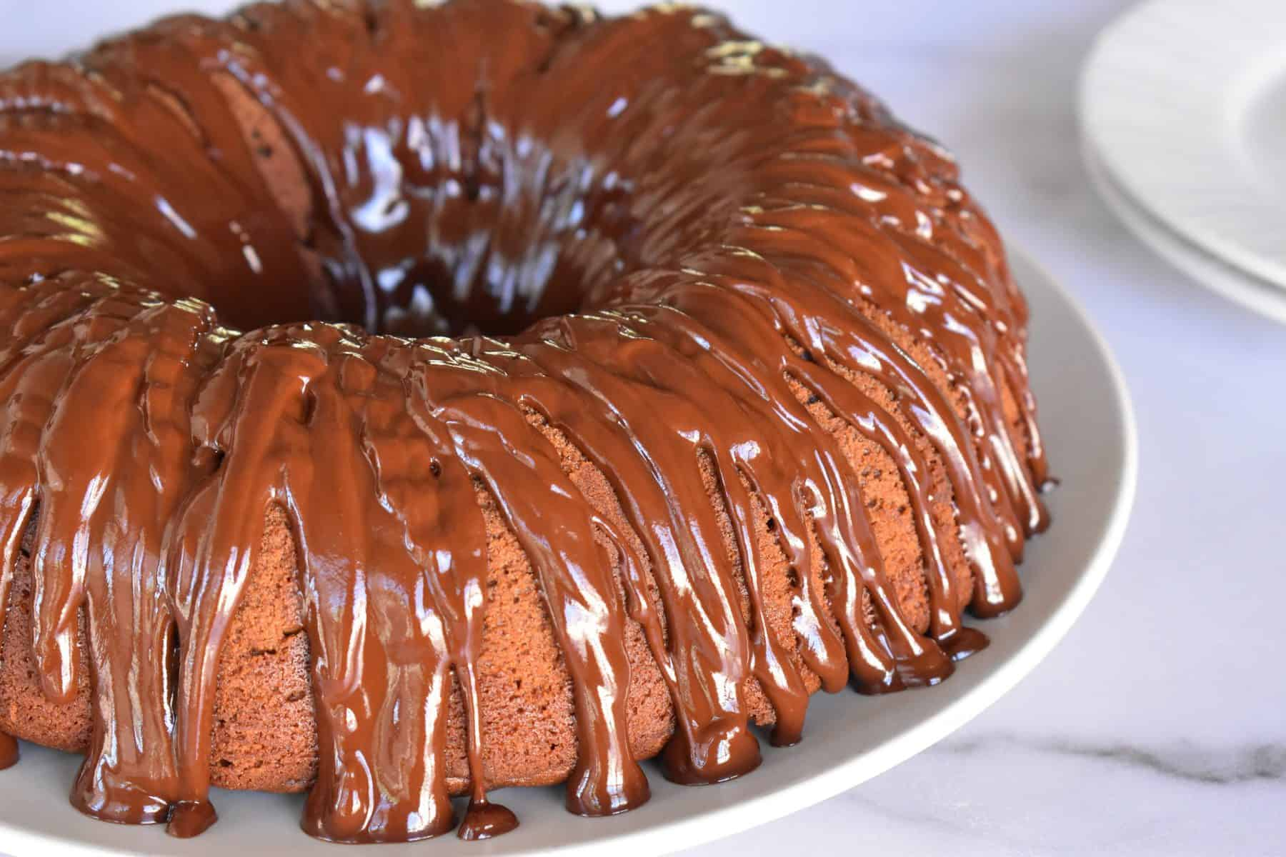 Chocolate Ricotta Bundt Cake with chocolate glaze.