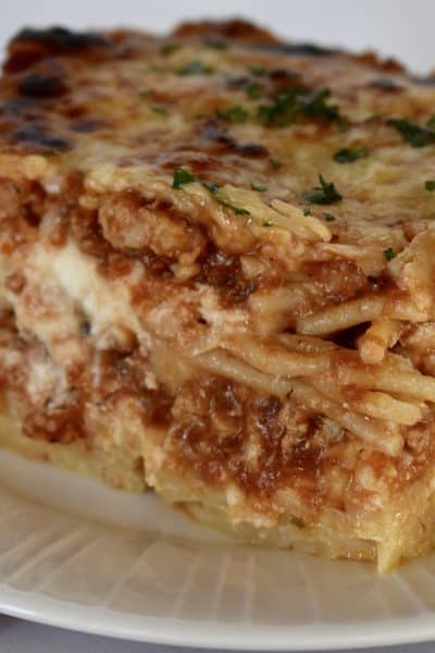 Baked Spaghetti with ground turkey.