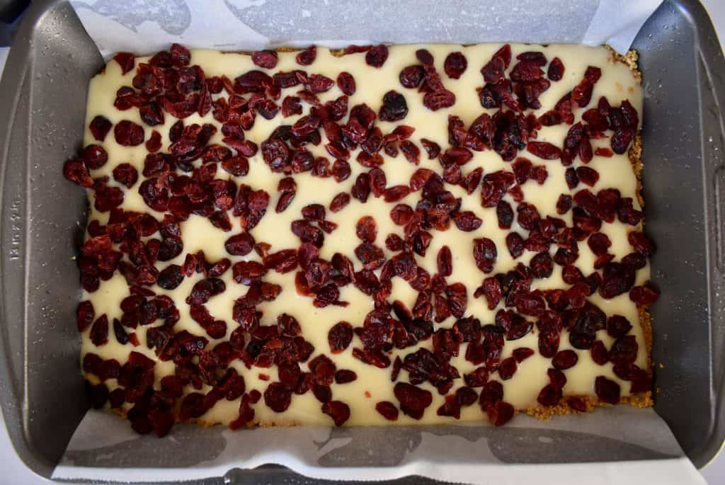 cranberries sprinkled on top of the sweetened condensed milk.