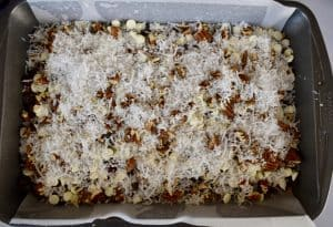 Cranberry Magic Bars in a baking tray.