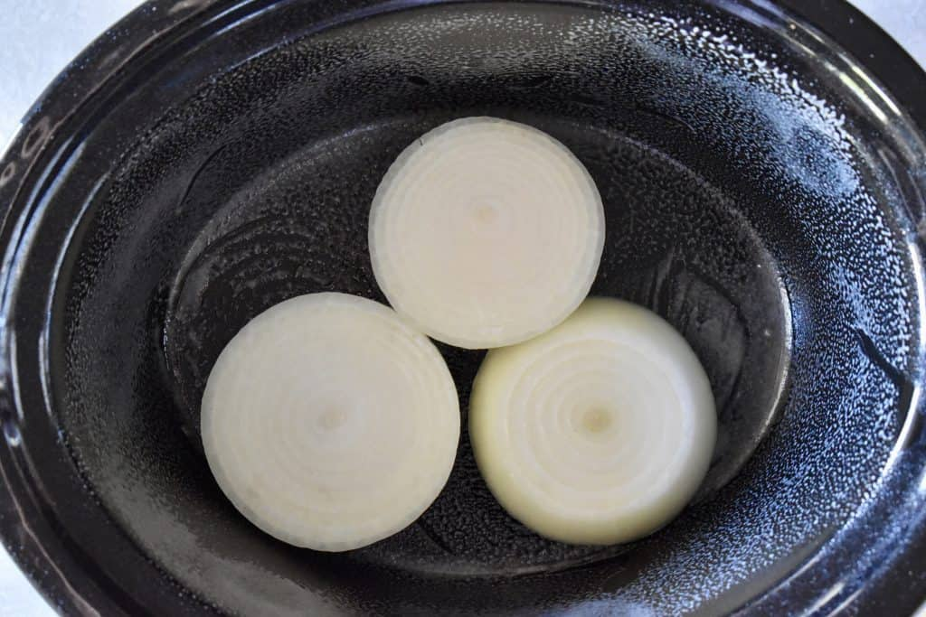 onions on the bottom of the Crock pot