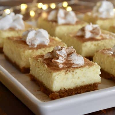 Eggnog Cheesecake Bars | Graham Cracker Crust