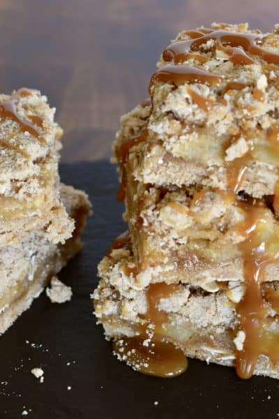 Caramel Apple Squares on a black board.