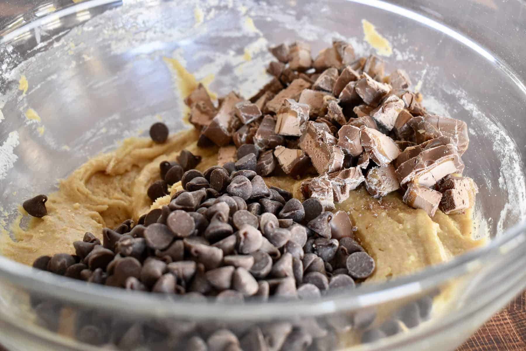 chunks of Milky Way and chocolate chips on top of the batter.