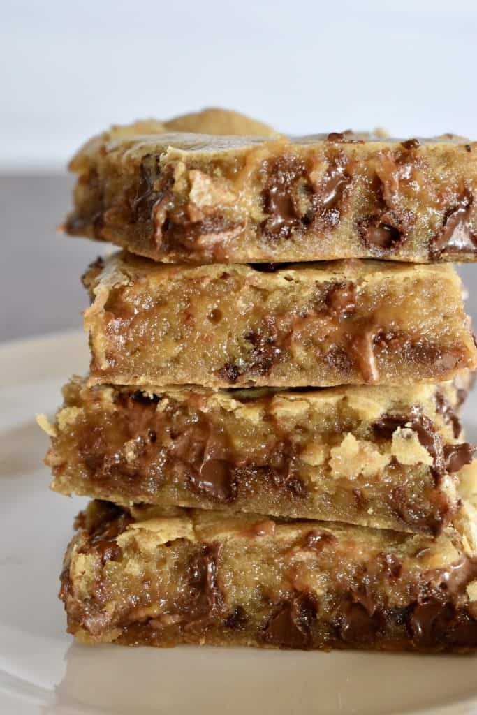 Milky Way Blondies stacked on top of each other.