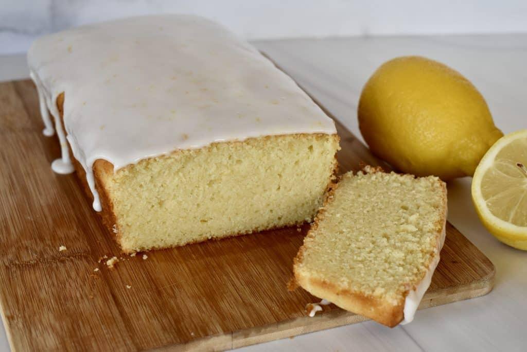 Lemon Ricotta Pound Cake on a cutting board.