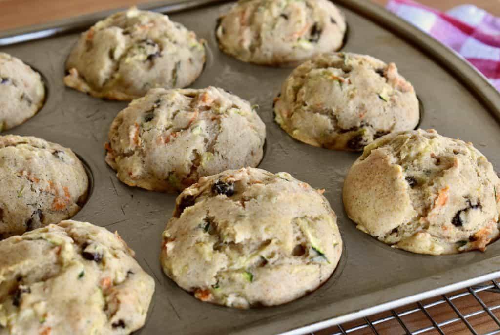 Zucchini Carrot Raisin Muffins in a 12 cup standard muffin tin.