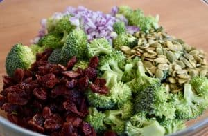 broccoli, cranberries, red onions, and sunflower seeds in a large glass bowl.