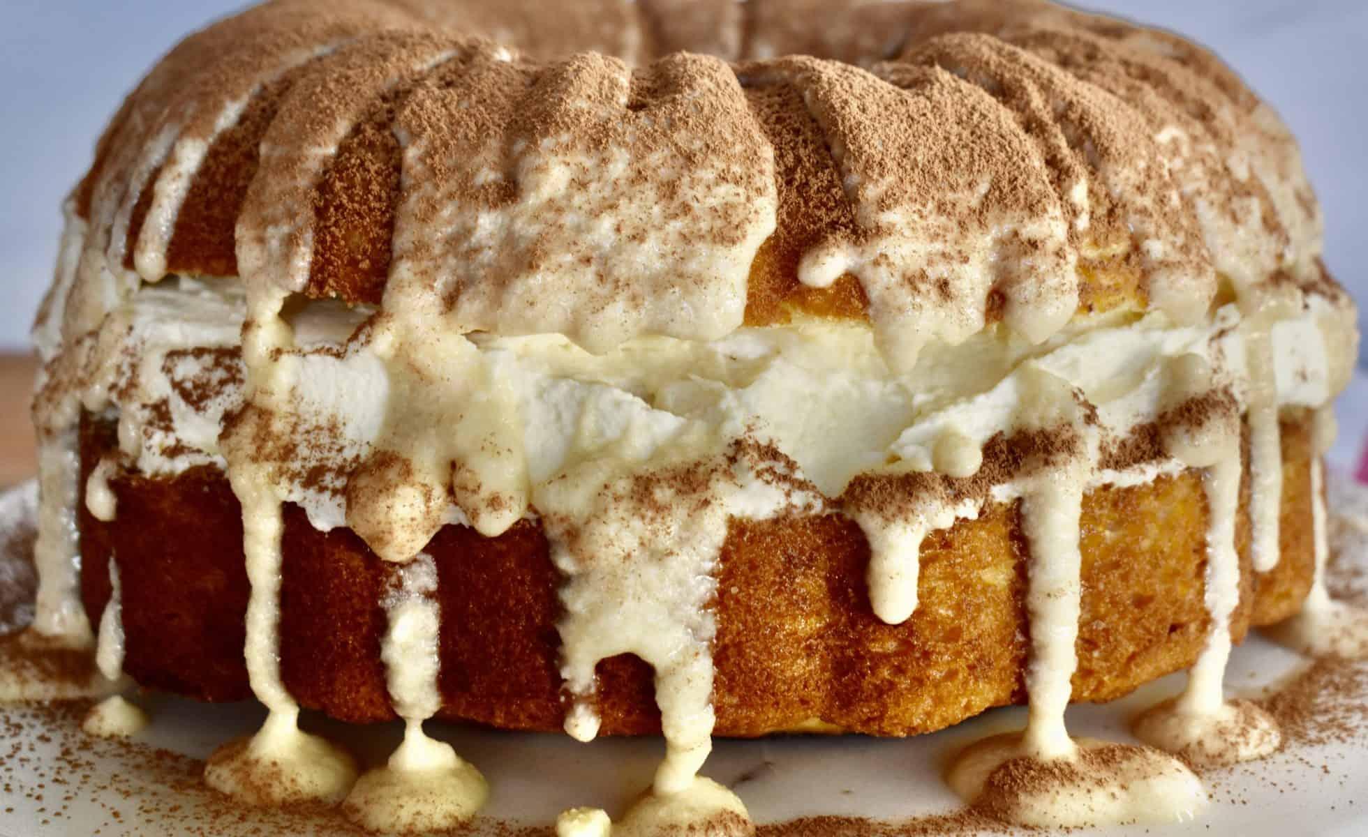 side view of tiramisu bundt cake