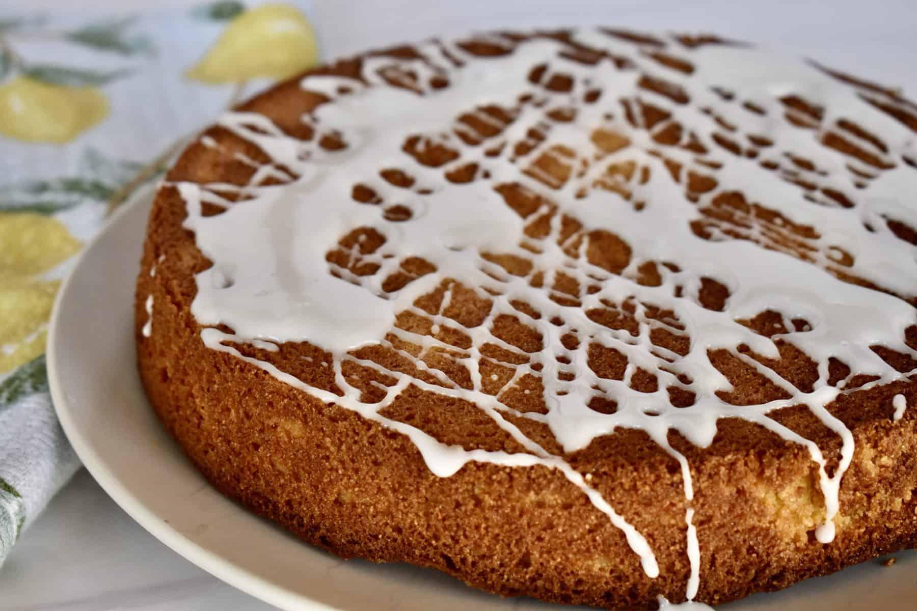 Lemon Polenta Cake with lemon glaze.
