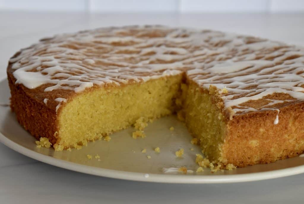 Lemon Polenta Cake on a plate.
